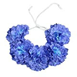 Headdress Big Flower Bohemia Wreath Crown Wedding Headband Bridal Wedding Dress Accessories Floral Garland Hair Tied band (blue)