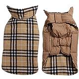 cappotto reversibile del cane del plaid (7 formati) impermeabile antivento caldo per il randello del cane del freddo beige xl