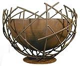 Metallmichl Edelrost Draht-Halbkugel Ø50 cm mit innenliegender Pflanzschale wasserdicht Ø 40cm - Design Blumenschale aus Metall als Gartendeko wetterfest und frostsicher