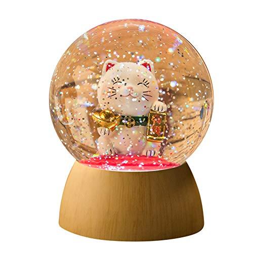 YJF Glückliche Katze Schneekugel Kristallkugel Nachtlicht Liebhaber Freundin Geburtstagsgeschenk Batteriebetrieben -