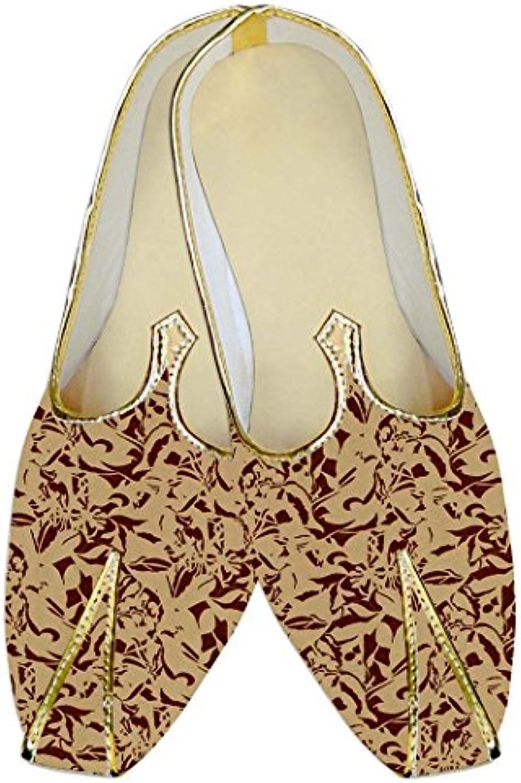 INMONARCH Melocotón Hombres Boda Zapatos Marrón Imprimir MJ015285