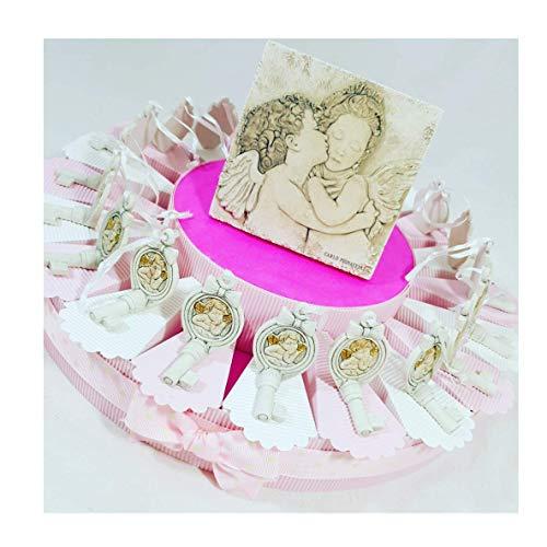 Sindy bomboniere 8054382130 torta battesimo angeli con centrale firmato carlo pignatelli e confetti rosa, resina, panna, 30 x 30 x 5 cm