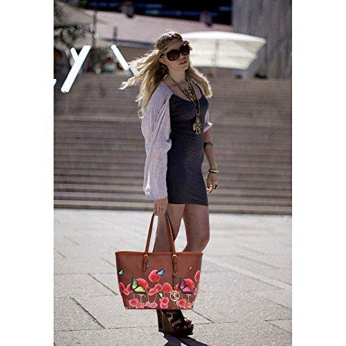 Trend Star woman designer handbag ladies fashion patent tote bag (D - Black / White) G - Marron