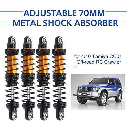 Godyluck 4pcs einstellbare 70mm Metall Stoßdämpfer Dämpfer für 1/10 Tamiya CC01 RC Crawler Geländewagen