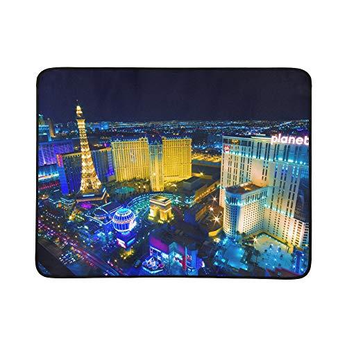 SHAOKAO Las Vegas Avenue Nevada Usa Nachtmuster Tragbare und Faltbare Deckenmatte 60x78 Zoll Handliche Matte für Camping Picknick Strand Indoor Outdoor Reise -