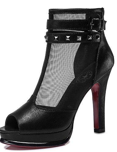 UWSZZ Die Sandalen elegante Comfort Schuhe Frau - Sandalen - Büro und Arbeit/formellen/casual/Abend und Fest - Fersen/Tick - Quadrat - Tüll - Schwarz/Rot, Rot -6.5-7 US/EU 37/ UK 4,5-5/CN 37, Rot -6.5 Black
