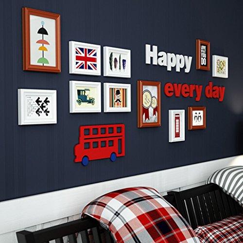 Cadres photo pour mur en bois style moderne maison d'enfants décoration de la chambre mur de suspension (y compris les images), ensemble de 11 cadres de collage @The harvest season ( Couleur : A )