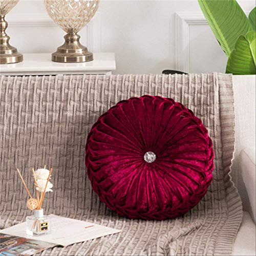 AINIYUE Sitzkissen für zu Hause, Fashion Luxury Velvet Dekokissen, runde Plissee Wheel Pumpkin Sitzkissen, für Bürostuhl Matte 35x35cm Weinrot
