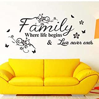 Quistal Family Where Life Begins Love Never Ends with Flowers and Butterfly Vinyl Removable Wall Quote Sticker Decal (Black)