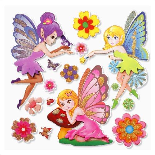 Stickerkoenig Wandtattoo 3D Sticker Wandsticker - niedliche Elfen, Feen, Fee, Fairy Elfe Set #529 Kinderzimmer Deko auch für Wände, Fenster, Schränke, Türen etc auf Bogen