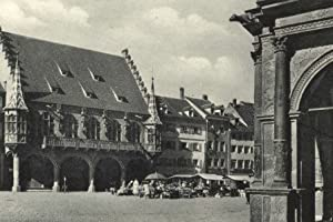 Freiburg, Kaufhaus und Markt - 1939 - Reproduktion einer alten Ansichtskarte - Großformat 20x30 cm