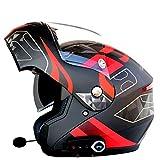 Casco moto intelligente Bluetooth, Musica, a mani libere, casco anti-nebbia anti-nebbia multifunzione, dotato di casco moto FM Function, adatto per la corsa su strada, fuoristrada, guida a lunga dista