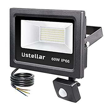 ustellar 60w led fluter mit bewegungsmelder 4800lm tageslichtwei 5000k au enstrahler ip66. Black Bedroom Furniture Sets. Home Design Ideas