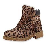 SCARPE VITA Damen Stiefeletten Worker Boots Gefütterte Outdoor Schuhe Prints 172289 Leopard Gefüttert 38