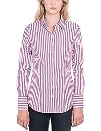d5fec8f8de HAWES   CURTIS Womens Plum   White Bengal Stripe Fitted Shirt - Single Cuff