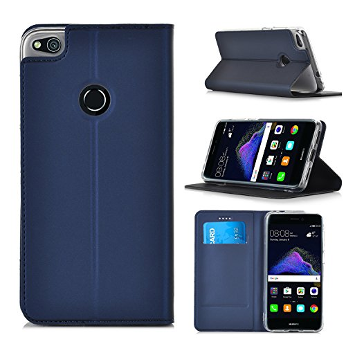 ELTD Huawei P8 LITE 2017 Flip Cover, Wallet style Super Slim Perfect Fit Premium Hard Protettiva Custodia per Huawei P8 LITE 2017, Nero