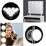 Tobbiheim Hollywood Espejo Lámpara LED Espejo Iluminación 10 Regulable Bombillas USB Funciona 7000 K
