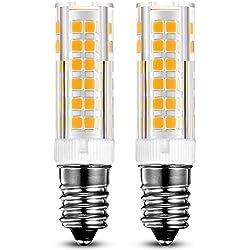 KINDEEP E14 bombilla LED - 7W/550LM, rosca Edison pequeña (SES), equivalente a bombilla halógena de 60W, Blanco cálido 3000K, Pack de 2