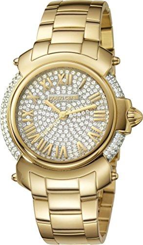 Roberto Cavalli: para mujer dorado reloj con dial de dos tonos plata/Full piedras