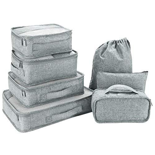 Packing Cubes 7 Teiliges Kleidertaschen Set, Slimfone Packwürfel Kofferorganizer Packtaschen für Koffer Reisetasche Rucksack Taschen Organiser Gray