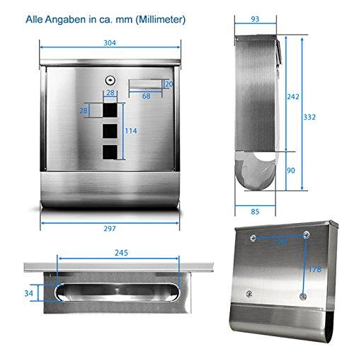 TÄGA 2210 Design Briefkasten Edelstahl mit Zeitungsfach ...