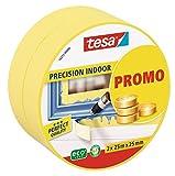 tesa Malerband für Innen, Profi Qualität, 25m x 25mm, Promo-Pack mit 2 Rollen