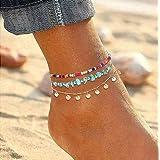 Simsly Beach - Cavigliera con paillettes dorate, regolabile, per donne e ragazze
