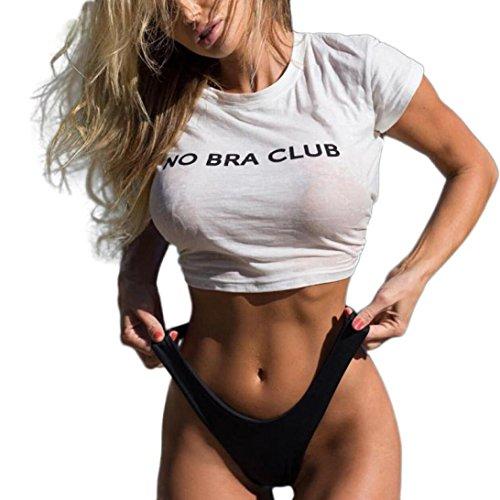 T-Shirt,Honestyi 2018 Neueste Modell Langarm Tuniken Frühling Sommer Crop Top Mode T-Shirt ' No Bra Club 'Gedruckt Bluse Sweatshirt Vintage O-Ausschnitt Freizeit Weste Baumwolle Hemden (M, Weiß) (Saison-langarm-top)
