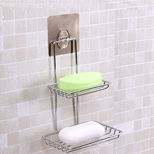 LUYIASI- Badezimmer Racks Einfache schöne Seifenkiste Double Layer Auslaug Seife Rack Wasserdichte Seife Racks Box Metall Bad Seife Stand Seamless Stickers Chrome Seife Box Bathroom Racks - Chrome Bath Caddy