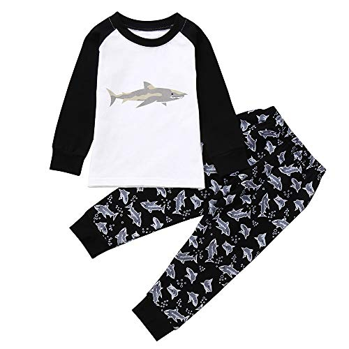 (Babykleidung Satz, LANSKIRT 2ST Kinder Jungen Mädchen Outfits Set Karikatur Hai Drucken Top-Kleidung + Hosen 0-7 Alter)