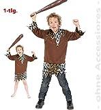 KarnevalsTeufel Kinder-Kostüm Steinzeit-Boy, Kind, Neandertaler, Urzeitmensch, Eiszeit, Höhlenmensch, Urmensch, Oberteil (128)