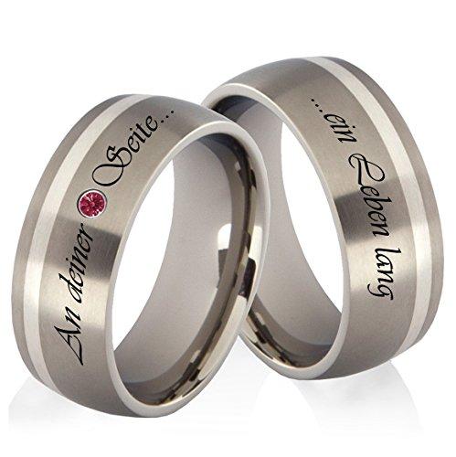 frencheis Titanringe Verlobungsringe Eheringe Trauringe Hochzeitsringe aus Titan und 925 Silber mit Rotem Zirkonia und persönlicher Lasergravur HZR26L
