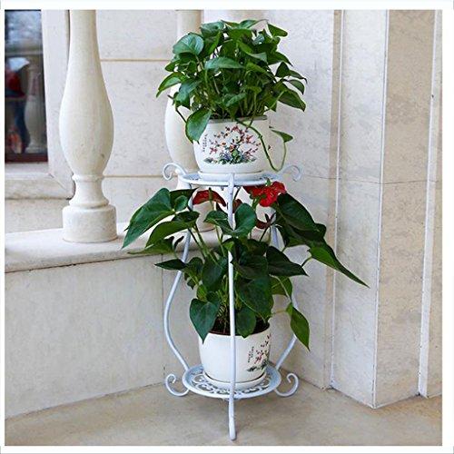 Unbekannt Europäische mehrstöckige Balkon-Terrasse-Einfacher Boden-Eisen-Blumentopf-Zahnstangen-Boden-Balkon-Blumen-Gestell-Innenwohnzimmer-Boden-Betriebsregal (Farbe : Weiß) (Hochwertige Handwerklich Wohnzimmer-möbel)