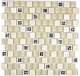 Mosaik Fliese Transluzent Kunststoff beige Glasmosaik Crystal Stein beige für BODEN WAND BAD WC DUSCHE KÜCHE FLIESENSPIEGEL THEKENVERKLEIDUNG BADEWANNENVERKLEIDUNG Mosaikmatte Mosaikplatte