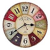 Asvert Horloge Murale Vintage Coloré en Bois Pendule Murale Rétro Design Rustique Style Toscan pour Décoration de Salon Chambre, 12inch