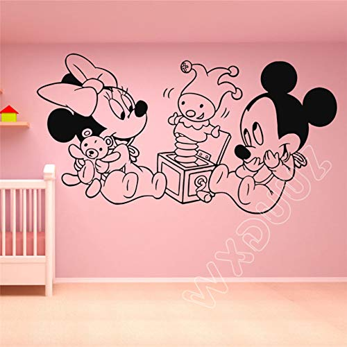 Vinyl Wall Decal Aufkleber Dekor Mickey Mouse Minnie Cartoon Art Home Decor Kinderzimmer Wandaufkleber 108 x 58 cm