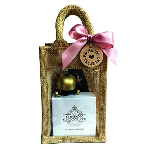 Mini Prosecco Treat Bag: Prosecco, Prosecco chocolate truffles and a gold Prosecco Stopper packaged in a cute Jute gift bag perfect for Birthdays, Gifts