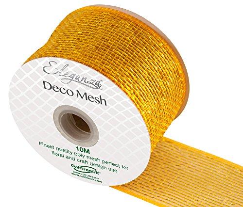 Eleganza Deco Mesh Metallic 63mm x 10m Nr. 35, Gold Metallic-poly-mesh