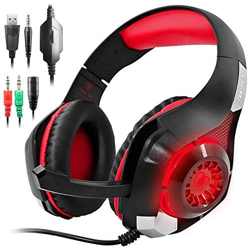 Cuffie Gaming per PS4 Xbox One, GM-1 Cuffie da Gioco con Microfono Stereo Bass LED Luce Regolatore di Volume per PS4 PC Cellulari per AFUNTA-Rosso