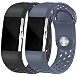 HUMENN Soft Adjustable Replacement Silicone Sport Band Strap Compatible Fitbit Charge2 Fitness Wristband Large Black+Grey