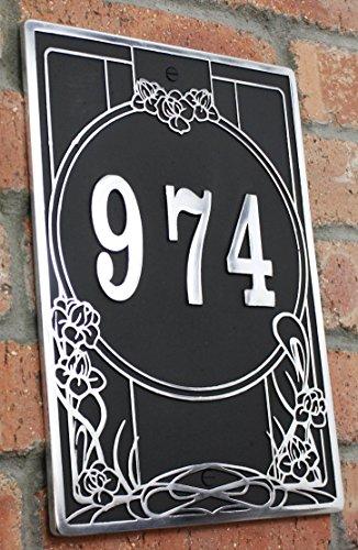 House Adresse Gedenktafel mit Ihrer Hausnummer im Art Nouveau Stil. Aluminium massiv auf Bestellung handgefertigt in England.