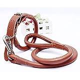 ZHANGZHIYUA Hundeleine aus Leder mit Griff, Blei für große/mittlere Hunde, Sicherheitstraining für größere Kontrolle, Hund im Verkehr schützen,A,59inches