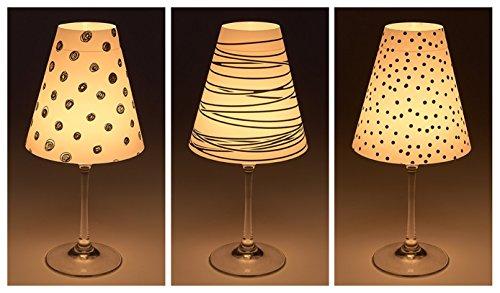 Cuadros Lifestyle Candle Lights/Pantallas de Lámpara para Copas de Vino/Deko de Pantallas de Lámpara/Lámpara/Té luz/Lampshades/Lámpara Pantalla de Juego kirian Mesa Decorativa, 3Piezas