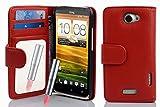 Cadorabo - Etui Housse Portefeuille pour HTC ONE X Portefeuille 'Miroir' avec 3 Fentes pour Cartes - Coque Case Cover Bumper en ROUGE CERISE
