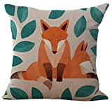 Zolimx 45 cm * 45 cm Kopfkissen Cartoon Fox Print Sofa Kissenbezug Auto Bett Home Dekoration, a, Size: Approx. 45 x 45cm/ 18x18