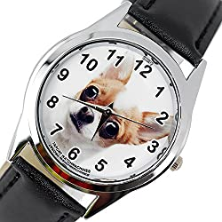 TAPORT® BEVERLY HILLS CHIHUAHUA Quartz Watch BLACK Leather Band +FREE SPARE BATTERY+FREE GIFT BAG