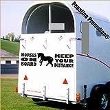 Pegatina Promotion Pferd mit Spruch Horses on Board - Keep Your Distance Aufkleber Anhänger Pferd Anhänger ca. 100x30cm
