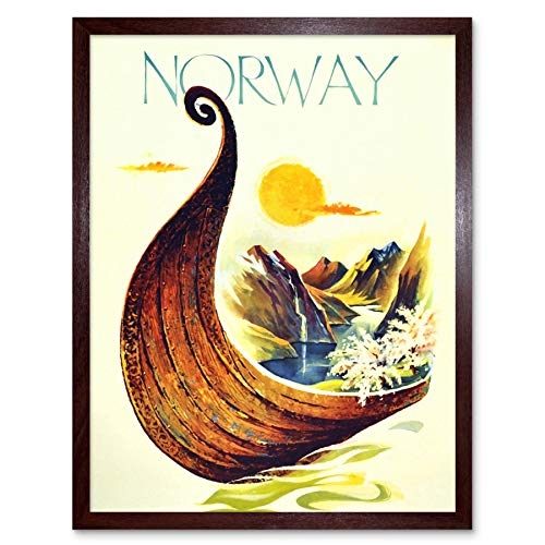 Wee Blue Coo Travel Norway Scandinavia Viking Boat River Art Print Framed Poster Wall Decor 12X16 Inch