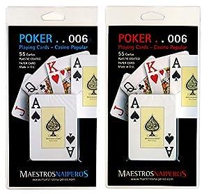 Maestros Naiperos- baraja Poker, Jumbo, inglés, 55, Cartas, Blister, Calidad Casino Popular, Color Azul y Rojo (423997)
