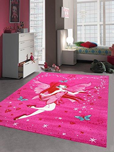 Kinderteppich Spielteppich Kinderzimmer Teppich Zauberfee mit Schmetterlinge Pink Creme Rot Türkis Größe 160x230 cm